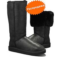 Угги высокие черные кожаные UGG Tall Bomber Ugg tall metallic black UGG Australia
