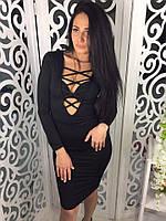 Женское платье на шнуровке ткань микромасло черное