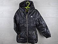 """Куртка подростковая демисезонная """"Adidas"""". Удлиненная модель. 6-10 лет. Черная. Оптом."""