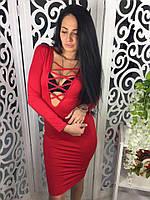 Женское платье на шнуровке ткань микромасло красное