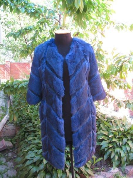 Женская шуба из натурального меха кролика, цвет синий (074)