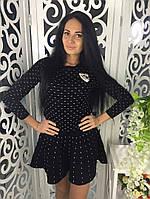 Очень модный и стильный костюм ткань мелкая машинная вязка черный, фото 1