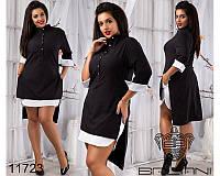 Стильное женское платье-рубашка большого размера, цвет черный (р.48-54)