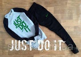 Мужской комбо спортивный костюм Nike зелёный принт