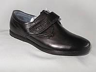 Детские туфли на мальчика 27-32 р., черные с липучкой и строчкой на заднике
