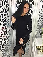 Женское трикотажное платье с разрезом цвет черный, фото 1