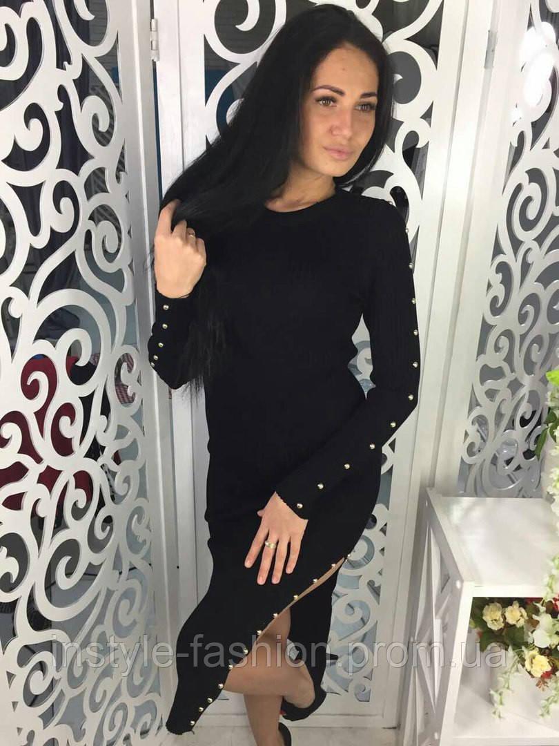 Женское трикотажное платье с разрезом цвет черный