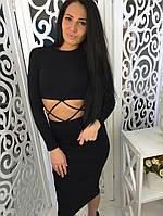 Женское красивое открытое платье цвет черный, фото 1