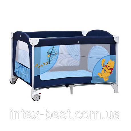 Манеж A 03-5 детский 2 колеса с тормозом, боковым карманом, змейкой в сумке сине-голубой, фото 2