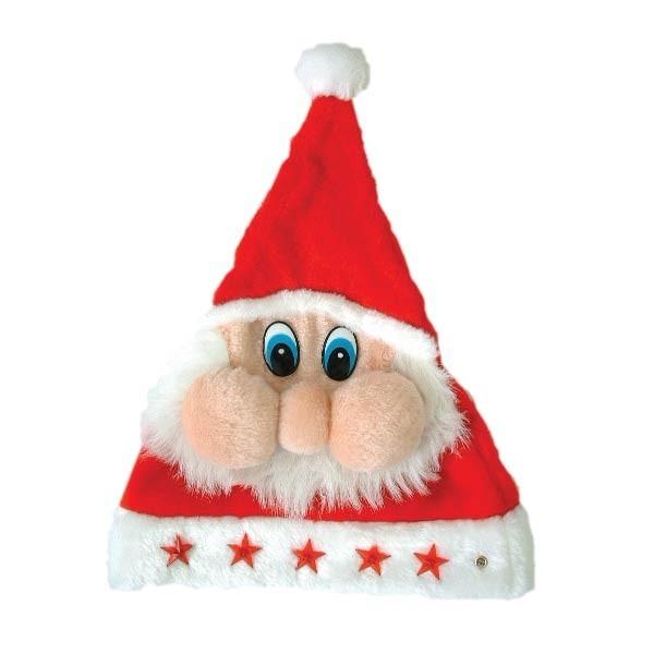 Шапка Деда Мороза с мордочкой мигающая на батарейках
