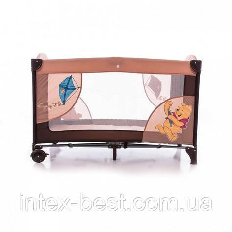 Манеж A 03-6 детский 2 колеса с тормозом, боковым карманом, змейкой в сумке сине-голубой, фото 2