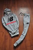 Мужской серый трикотажный спортивный костюм | New Balance logo