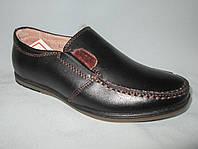 Детские туфли на мальчика 27-32 р., коричневые нашивки, обшивка коричневой ниткой