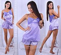 Женский костюм для сна - шорты и майка, цвет сиреневый
