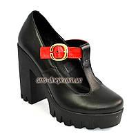 Туфли женские кожаные на устойчивом каблуке