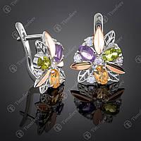 Серебряные серьги с самоцветами. Артикул С-262