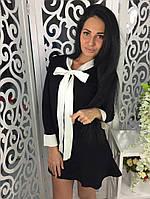 Платье клеш с бантом ткань трикотаж машинная вязка черное