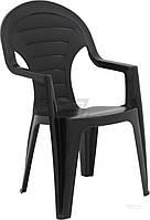 Садовое кресло прочное черное из пластика  (для кафе и улиц)