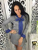 Платье клеш с бантом ткань трикотаж машинная вязка серое, фото 1