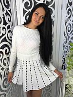 Модное платье клеш ткань трикотаж машинная вязка белое, фото 1