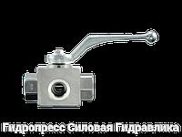 Шаровой кран 3-ходовой BK 3 L-образная форма ANSI B 2.1 PTFE - FKM, Нержавеющая сталь