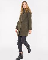 Женское пальто из шерсти с капюшоном в расцветках u-alb02109