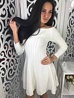 Модное платье клеш ткань трикотаж машинная вязка белое