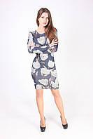 Повседневное платье приталенного силуэта з серыми цветами, фото 1