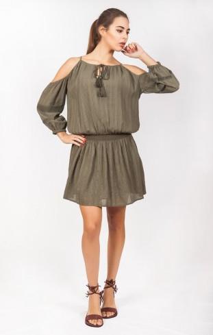 Платье женское с открытыми плечами цвета хаки