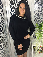 Модный и стильный костюм с камнями ткань мелкая машинная вязка черный