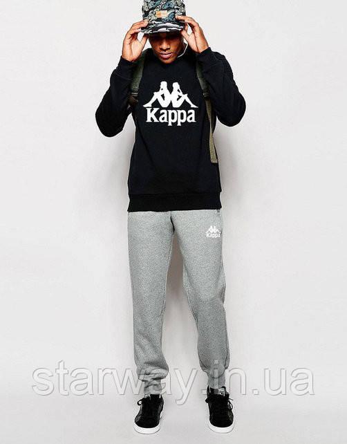Мужской спортивный костюм Kappa | чёрный свитшот серые штаны