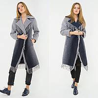 Свободное пальто-халат с бахромой u-alb02508