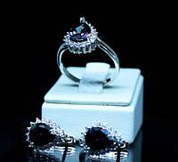 Косплект серьги+кольцо из серебра 925 пробы с мистическим топазом