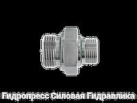 """Соединение прямое, BSP - цилиндрическая резьба - переходник - конус 60° с мягким уплотнителем """"WD"""", Нерж.сталь"""