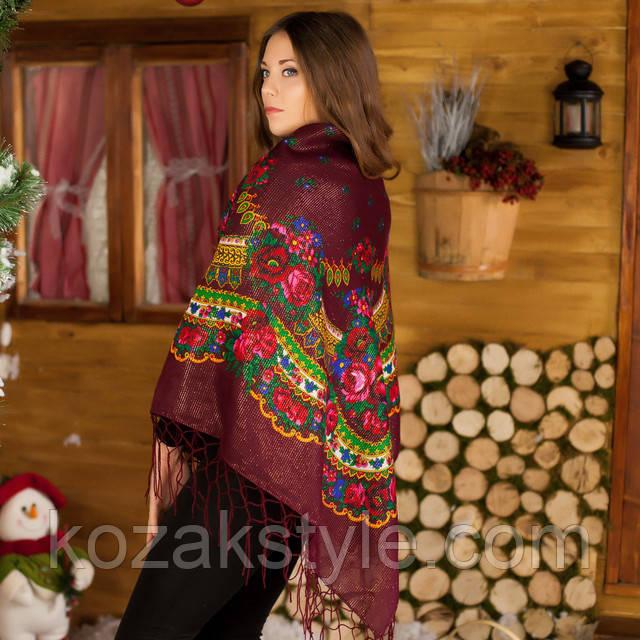 Українська хустка бордо з люрексом (125х125)