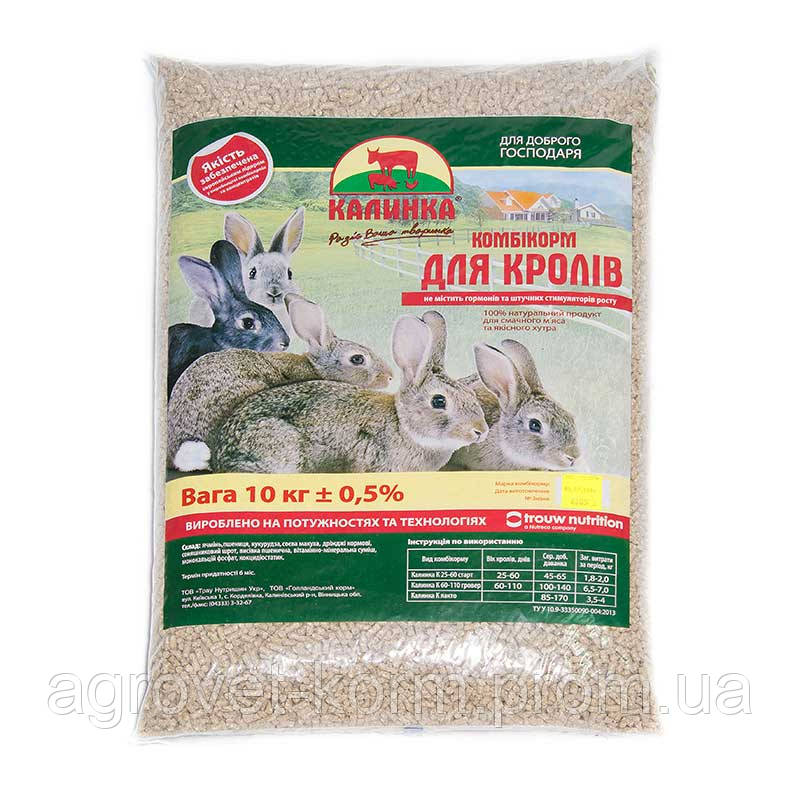 Калинка-10 К  гровер для кролей от 60-110 дней  (6805)    10 кг