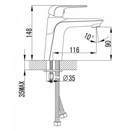 NOVA OPAVA cмеситель для раковины, хром, 35 мм, фото 2