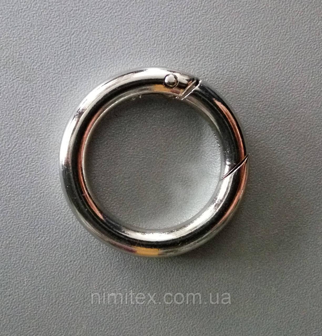 Кольцо-карабин 28 мм никель