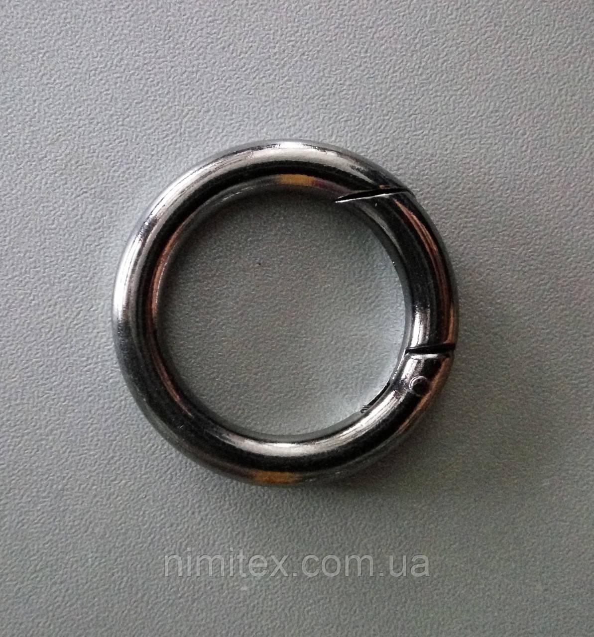 Кольцо-карабин 28 мм черный никель