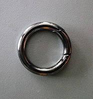 Кольцо-карабин 28 мм, черный никель
