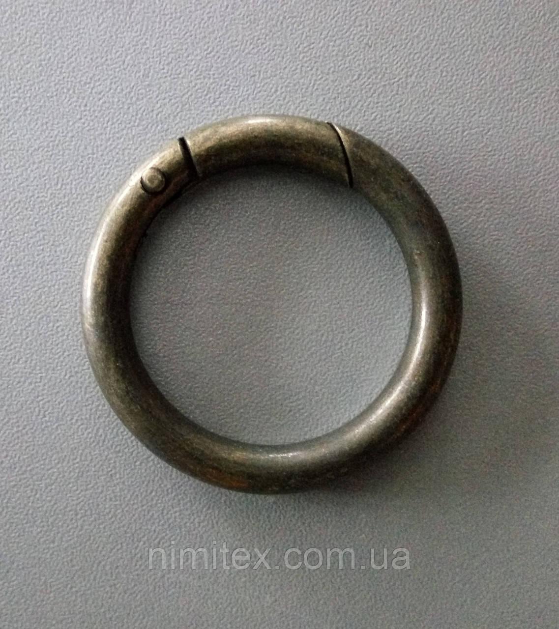 Кольцо-карабин 34 мм антик