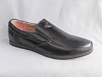 Подростковые туфли на мальчика оптом 36-41 р. черные, трехцветная деталь, обшивка