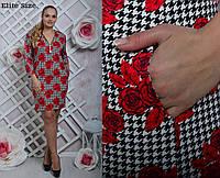 Женское платье в клетку большого размера у-6151089