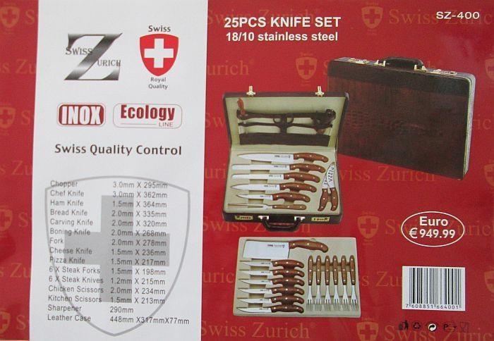 Набор ножей в чемодане Swiss Zurich (25 предметов)