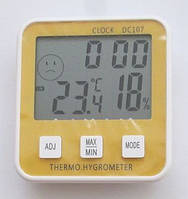 Термометр гигрометр DC-107, с часами, календарем