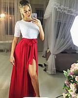 Женское шикарное платье в пол с гипюром (2 цвета)