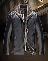 Куртка кожаная зимняя ,дубленка мужская на овчине,2XL.