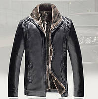 Дубленка мужская  на овчине,куртка кожаная зимняя.