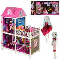Детский двухэтажный домик для кукол с мебелью и аксессуарами