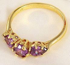 Кольцо позолота Gold Filled аметистовые цирконы (GF442) Размер 17